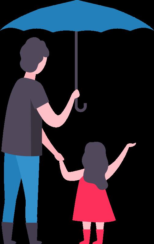 Illutrazione di genitore che mantiene per la mano il figlio sotto l'ombrello